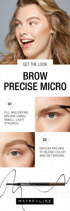 Sparse brows be gone! This spring, the biggest brow makeup trend is natural, full brows. The Maybelline Brow Precise Pencil makes it easy to embolden your brows with a grooming brush and sharp pencil. Follow this simple makeup tutorial to fill in your brows. Simply brush brows up, filling and defining brows using small, light strokes then groom arches to blend color, shading in the gaps for added fullness.