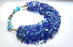 Royal blue seed bead necklace  blue stone necklace with cat