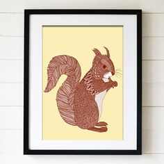 Jen Smith Line Drawing Squirrel Print featured on Fab.