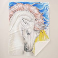 Beautiful Rainbow Stallion Portrait Sherpa Blanket - drawing sketch design graphic draw personalize