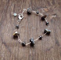 Rough Pyrite Bracelet, Hematite Bracelet, Wire Wrapped Jewelry, Chain Bracelet, Metallic Bracelet, Sterling Silver Bracelet, Handmade by ShillyShallyjewelry on Etsy