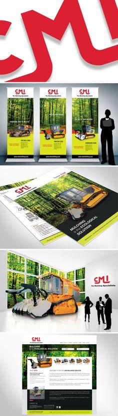CMI Mulching  Nous avons travaillé par le passé avec une personne de l'équipe et ils nous ont octroyés le nouveau mandat de refaire l'identité visuelle pour les brochures, roll-ups et look graphique Web.  En tenant compte du slogan : Le broyage est la solution écologique, nous avons mis l'impact sur les images de la forêt et des produits offerts. Solution, Brochures, Slogan, Images, Corporate Design, Chart, Products