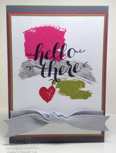 Work of Art_Hello There Basic Grey, Melon Mambo, Old Olive, Real Red, Memento Tuxedo Black Card Party, Stampin Up Catalog, Basic Grey, Sympathy Cards, Stamping Up, Greeting Cards Handmade, Scrapbook Cards, Homemade Cards, Stampin Up Cards