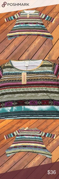 NWT American Rag Top NWT American Rag Top. Size: Small. It's called the Tuscan mermaid combo. Simply stunning & right on trend! Features 3/4 sleeves. Shark bite hem on both sides. Like a Tuscan print with colors black, white, yellow, pink, red, mustard,green, blue, purple & tan. Goes with denim or white great. Wear it with shorts or capris. 95% rayon. 5% spandex. Machine wash. Dry flat. NO TRADES. American Rag Tops Tees - Short Sleeve