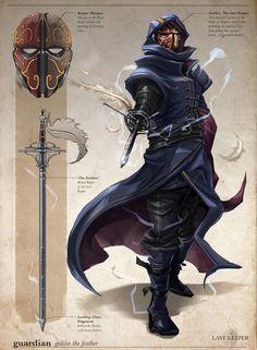 Fantasy - Rogue warrior, Assassin, Thief ArtStation - Keeper & Artifact - The Last Keeper, Su Wang Fantasy Character Design, Character Creation, Character Design Inspiration, Character Concept, Character Art, Concept Art, Character Ideas, Fantasy Male, Fantasy Armor