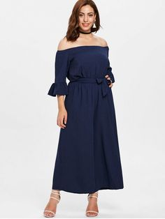 fc5e748b1e6 Off Shoulder Wide Leg Plus Size Jumpsuit - MIDNIGHT BLUE 4X Plus Size  Jumpsuit