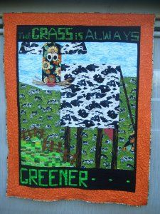 I had to show you what someone can do with the Flower Power book and a little imagination! Isn't this wonderful? This lady was a lovely an. Cow Parade, Horse Quilt, Flower Power, Horror, Baseball Cards, Envy, Quilts, Gallery, Creative