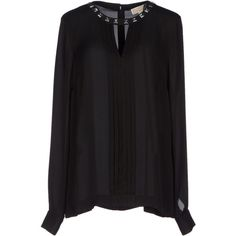 Michael Michael Kors Blouse ($104) ❤ liked on Polyvore featuring tops, blouses, black, silk top, silk blouses, long sleeve blouse, long sleeve tops and long sleeve silk blouse