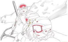 le croquis du mercredi par mémé moustache :  les daft punk en guest stars sur lesparentsvoyageurs.com au ski. illustration. dessin