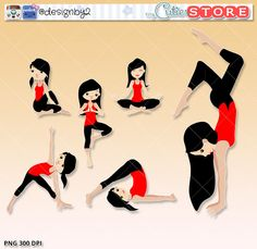 Yoga Girl Clipart, Yoga poses digital graphics perfects for planner stickers, paperclips, scrapbooking. Cute clip art by MyCutieStore on Etsy https://www.etsy.com/listing/289194897/yoga-girl-clipart-yoga-poses-digital