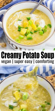 This vegan potato soup is the ultimate comfort food for cold days! It's super creamy, rich, and very easy to make! And it's ready in just 30 minutes, so it makes the perfect weeknight dinner! Find more vegan recipes at veganheaven.org! #vegan #veganrecipes #vegetarian