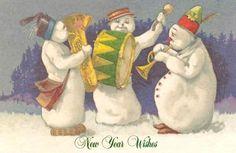 Antique Snowmen postcard