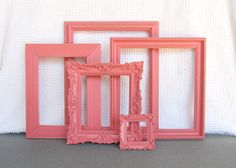 Coral Ornate Vintage Frames- Upcycled Painted OPEN frames set of 5 Mint Nursery Coral Peach Mint White Home Decor Beach Cottage Coastal