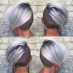 Cool, Crisp Blonde Undercut pixie. Platinum, rooted, silver