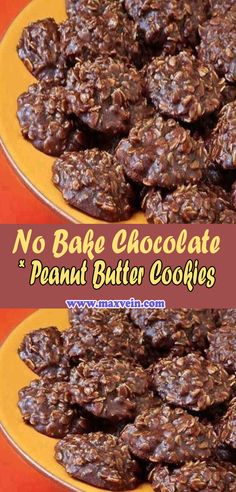 No Bake Chocolate Peanut Butter Cookies Candy Recipes, Baking Recipes, Sweet Recipes, Cookie Recipes, Dessert Recipes, Cookie Desserts, Easy Desserts, Delicious Desserts, Yummy Food