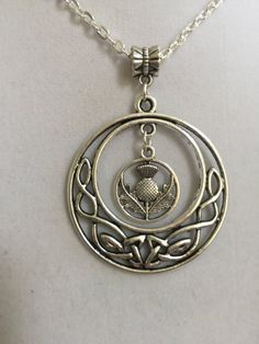 Silver Celtic Design and Scottish Thistle Pendant by joytoyou41