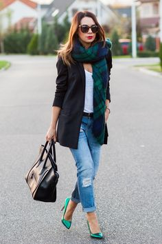 "Dark+Green+Zara+Scarves,+Navy+Mango+Jeans,+Black+Celine+Bags+|+""Emerald+Green""+by+cashmereinstyle"