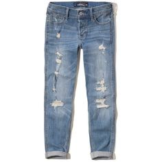 Hollister Boyfriend Jeans ($60) ❤ liked on Polyvore featuring jeans, pants, bottoms, destroyed light wash, blue denim jeans, denim boyfriend jeans, distressed denim jeans, stretch boyfriend jeans and stretch denim jeans