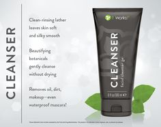 Cleanser gently removes all oil, dirt, and makeup (even waterproof mascara!) without stripping your skin of its natural moisture. It Works Cleanser Gel $33 http://www.newlifebodywraps.com/it-works-products