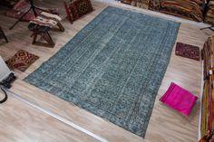 Vintage Turkish Rug, Over dyed Turkish Rug 5.97x9.25 ft (182 x 282 cm) by KilimArtShop on Etsy