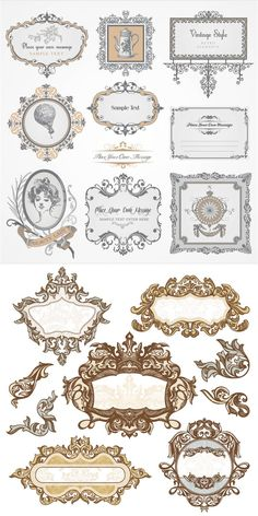 Set of vector decorative baroque frames with vintage ornaments and carved borders for your classic style embellishments, decorations, etc. Etiquette Vintage, Free Vector Graphics, Vector Vector, Baroque Fashion, Vintage Labels, Vintage Packaging, Vintage Ornaments, Vintage Frames, Design Elements