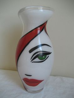 ROSENTHAL STUDIO -LINE GLASS ART DECO ABSTRACT FACE VASE BY MOR'E