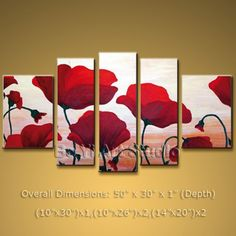 Modern Abstract Paintings Poppy Flower Oil On Canvas Wall Art #2025 | Modern_Abstract_Art - Painting on ArtFire