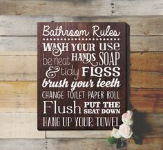 Bathroom Rules Sign Bathroom Rules Sign Rustic by ElegantSigns