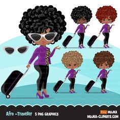 Travelling black woman clipart avatar with suitcase, print and cut, shop logo boss afro girl clip art purple leopard skin graphics Travel Divas, Girls Clips, Afro Girl, Shop Logo, Digital Stamps, Print And Cut, Female Characters, Printed Shirts, Printing On Fabric