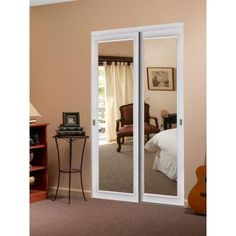 Impact Plus Raised Moulding White Trim Frosted Mirror Solid MDF Interior Closet  Sliding Door     The Home DepotReliaBilt 48 in x 80 in White 3 Lite Interior Sliding Door   set  . Frosted Sliding Closet Doors Home Depot. Home Design Ideas