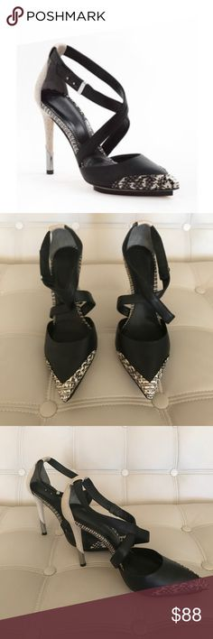 Rachel Roy Brandon black snake skin pumps Worn once for a wedding. Gorgeous and comfortable black and snake skin detailed pumps with cross strap design. Leather. Rachel Roy Shoes Heels