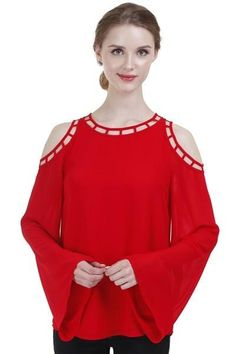 Cold Shoulder Top w/Cutout Detail in Red ($48) Combine two of the hottest trends of this year and you get a statement piece that will add zest your fall wardrobe! The graphic simplicity of the cutout hem detail and the cold shoulder reveal are balanced by a striking solid color and soft flared sleeve. Pair this top with Verdugo Ultra Skinny Distressed Jeans for a chic and sassy look for your next girl's night out
