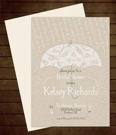 Printable Lace Umbrella Bridal Shower Invitation-Print Yourself-Digital Invite