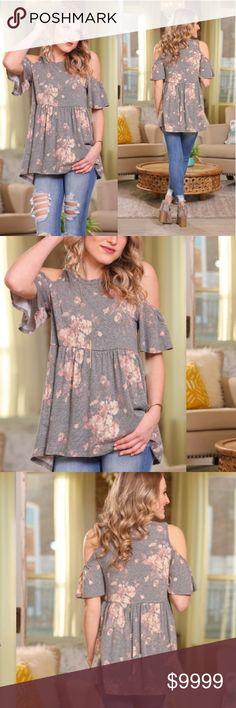 COMING SOON! Cold Shoulder Floral Top Vintage style floral cold shoulder top.  Material: 49% poly, 37% cotton, 11% rayon, 3% spandex Tops Tunics