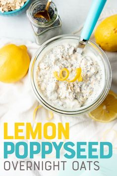These Lemon Poppyseed Overnight Oats are like your favorite muffin flavor in oatmeal form! These brightly flavored oats are a great way to kickstart your day. Overnight Oats, Muffins, Gluten Free Oats, Dairy Free, Oatmeal Recipes, Best Oatmeal Recipe, Breakfast Recipes, Mexican Breakfast, Breakfast Bites