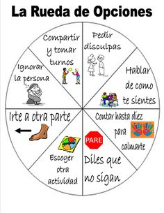 FREEBIE!   Wheel of Choice (Rueda de Opciones) for conflict resolution; students choose two options before appealing for help from the teacher.