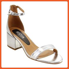4f8fd7cad Beston FH76 Women Single Band Ankle Strap Chunky Heel Dress Sandal Half  Size Big