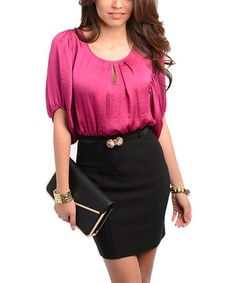 Take a look at this Magenta & Black Keyhole Dress by 24|7 Frenzy on #zulily today!