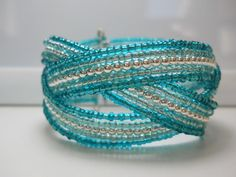 Memory Wire Braided Cuff Bracelet Teal Blue by WrappedandSnapped, $19.00