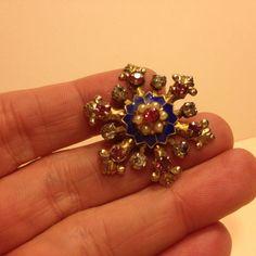 Vintage Cobalt Blue Enamel Pink Rhinestone STAR BROOCH Pin Gold Tone Jewelry