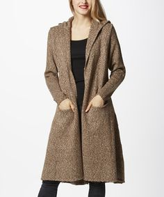 Another great find on #zulily! Simply Couture Khaki Hooded Open Cardigan - Women by Simply Couture #zulilyfinds