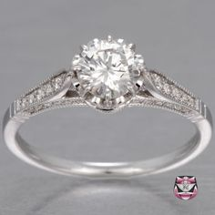 Edwardian Certified 0.66ct H/VS1 Diamond Engagement Ring