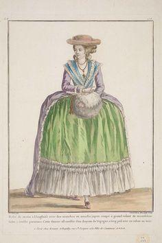 Robe de matin à l'Anglaise avec des manches en amadis jupon coupé à grand volant de mousseline fichu à double garniture. Cette femme est coëffée d'un chapeau de Vegogne a long poil avec un ruban au tour.