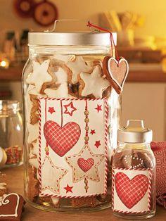 Dose f/ür Kekse Color Creme mit schwarzen Verzierungen Heart of the Home