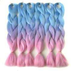 "Chorliss 24"" L.blueTlilacTpink  Synthetic Hair Extensions Crochet Braids Straight Jumbo Ombre Braiding Hair 100g/pack"