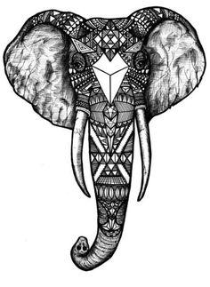 Tribal Elephant Coloring Pages   Épinglé par Cara Anglin sur Tattoos and piercing   Pinterest   Tête ...