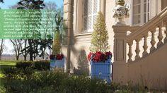 Light blue bac d'orangerie de Versailles, Jardinier du Roi manufacture Versailles planter boxes Caisse de Versailles. Les jardins à la française, bacs a oranger, orange tree planter, caisses de versailles, jardinieres a oranger  http://www.jardinierduroi.com