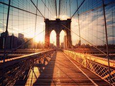 Brooklyn Bridge sunset wallpaper from Happywall Brooklyn Bridge New York, Manhattan Bridge, Lower Manhattan, Bridge Wallpaper, Sunset Wallpaper, Manhattan Times Square, Broadway, Ikea, Most Romantic Places