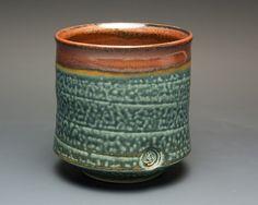 Porcelain tea cup tea bowl blue and brick red Japanese yunomi , BlueParrotPots, John Spiteri - JS mark SJ mark