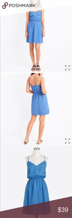 NWT J. Crew Linen Cami Dress NWT! Beautiful Linen cami dress. Summery blue color is perfect for spring or summer! J. Crew Dresses